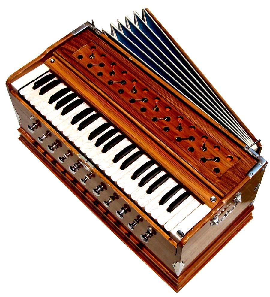 Red Brown Harmonium Instrument white keys