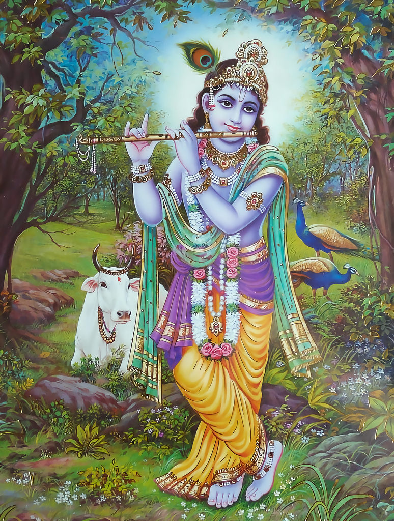 Shri Krishna playing the Bansuri