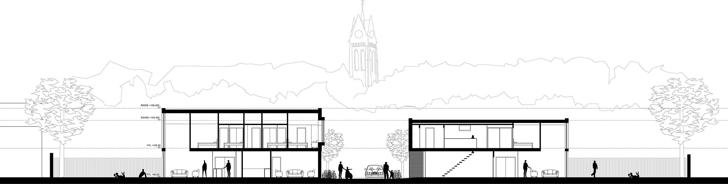 Section through new street with framed view of Church tower beyond