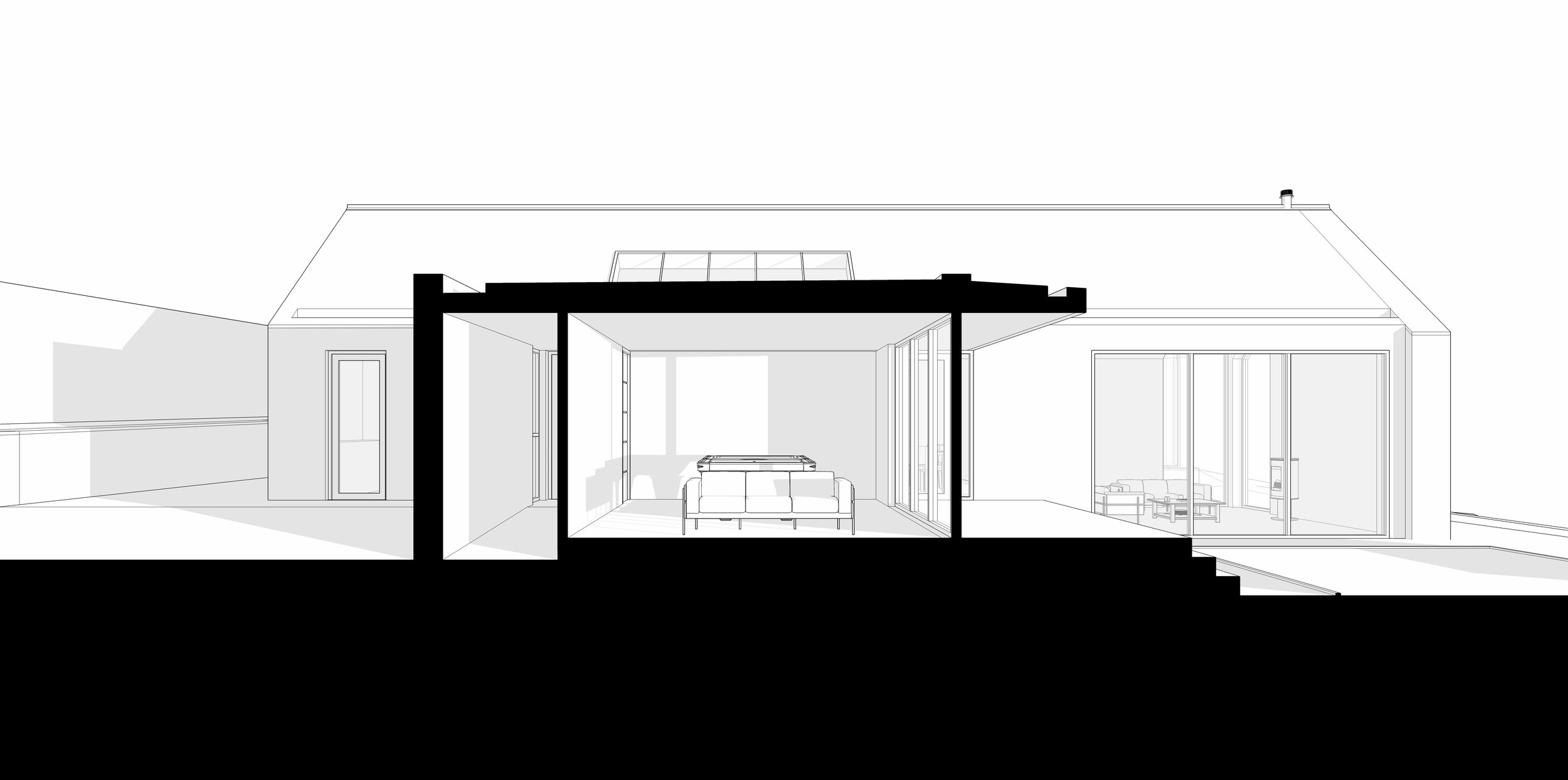 Perspective cross section showing living area relationship to terrace and courtyard