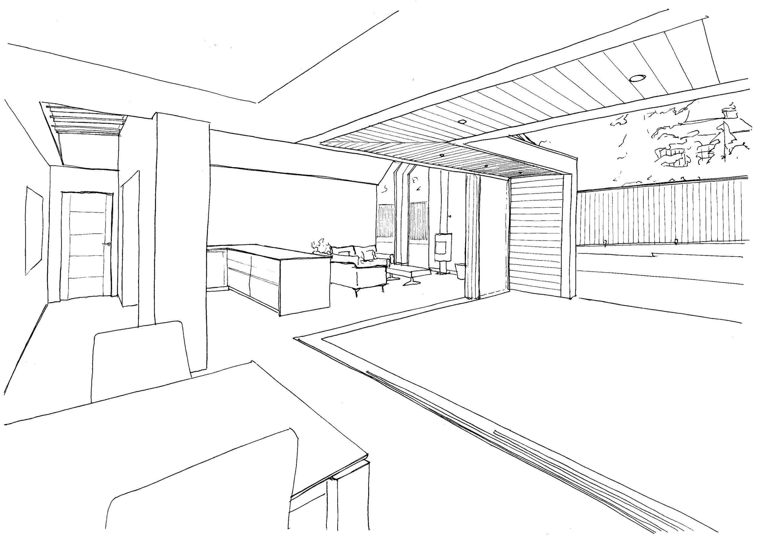 Sketch view of dining area