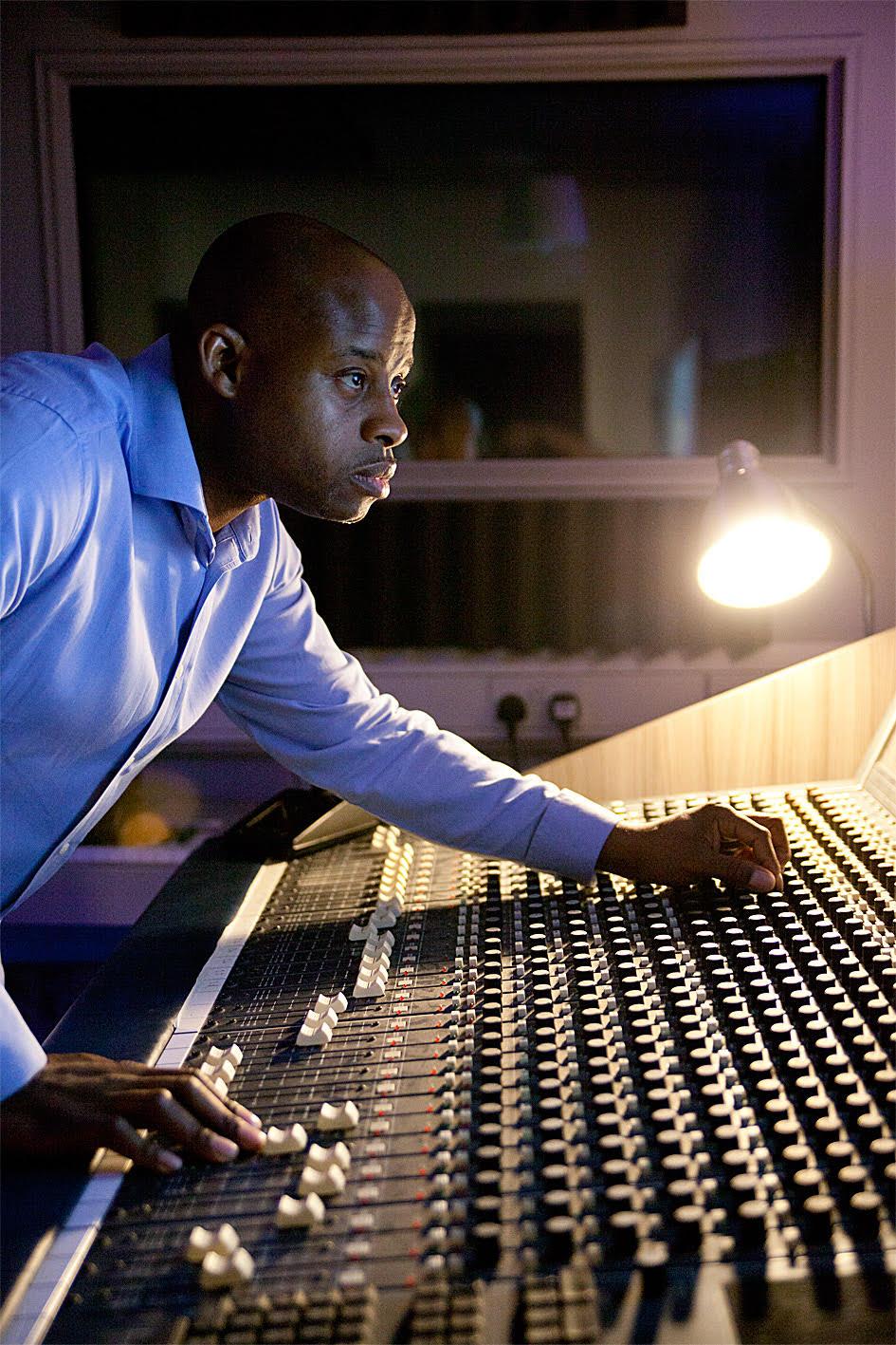 Tony Biggz, aka MC Biggie in the studio