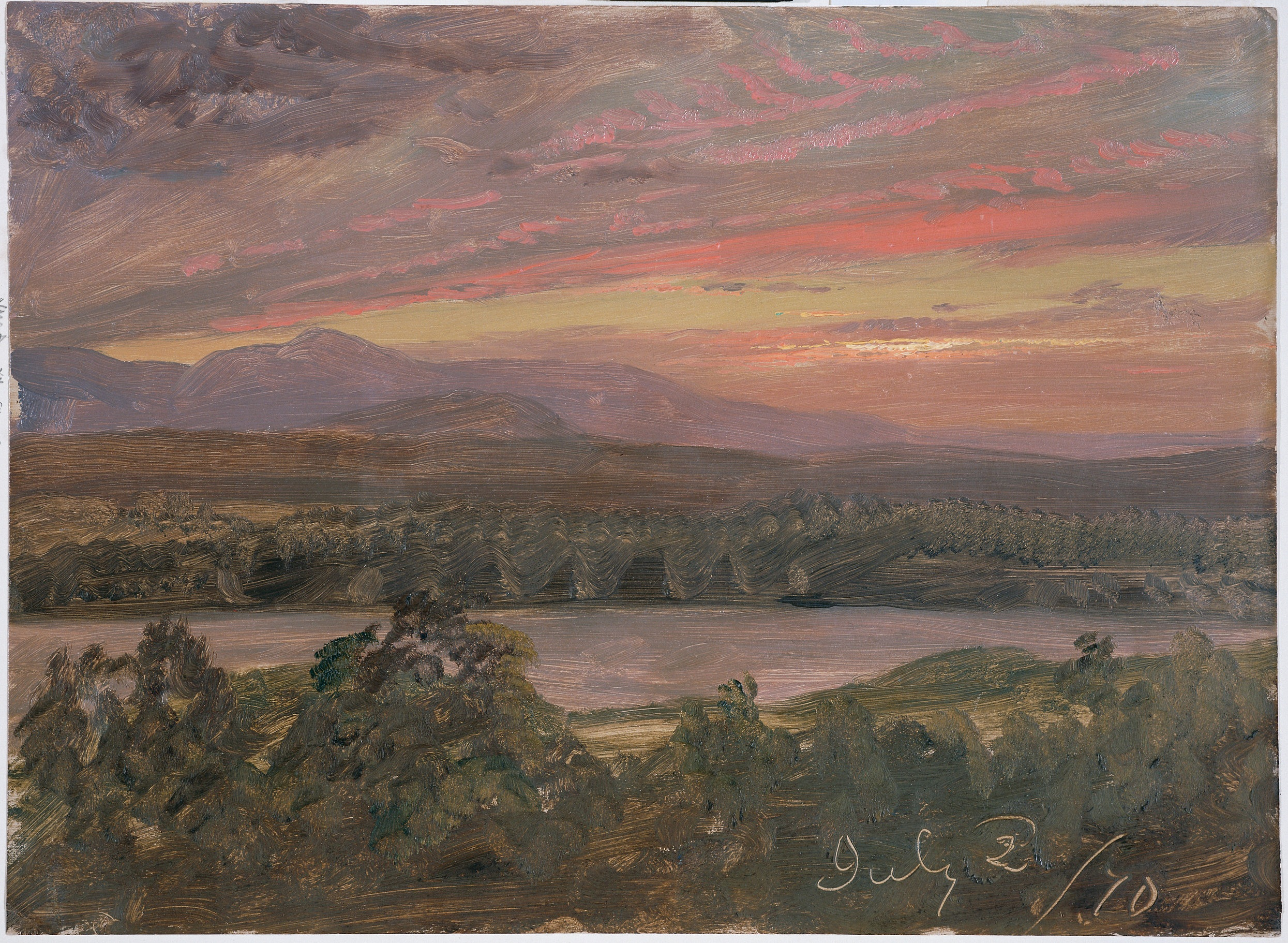"Frederic Edwin Church, ""Sunset from Olana,"" July 2, 1870, oil on off-white academy board, 11 1/16 x 151/8 in., OL.1976.8. Collection Olana State Historic Site, NYS OPRHP."