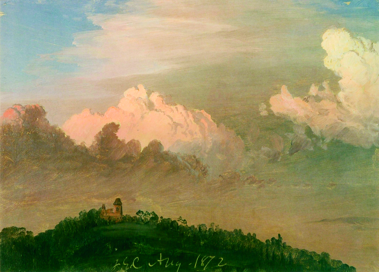 "Frederic Edwin Church, ""Clouds over Olana,"" August 1872, oil on off-white paper, 8 11/16 x 12 1/8 in.,OL.1976.1. Collection Olana State Historic Site, NYS OPRHP."