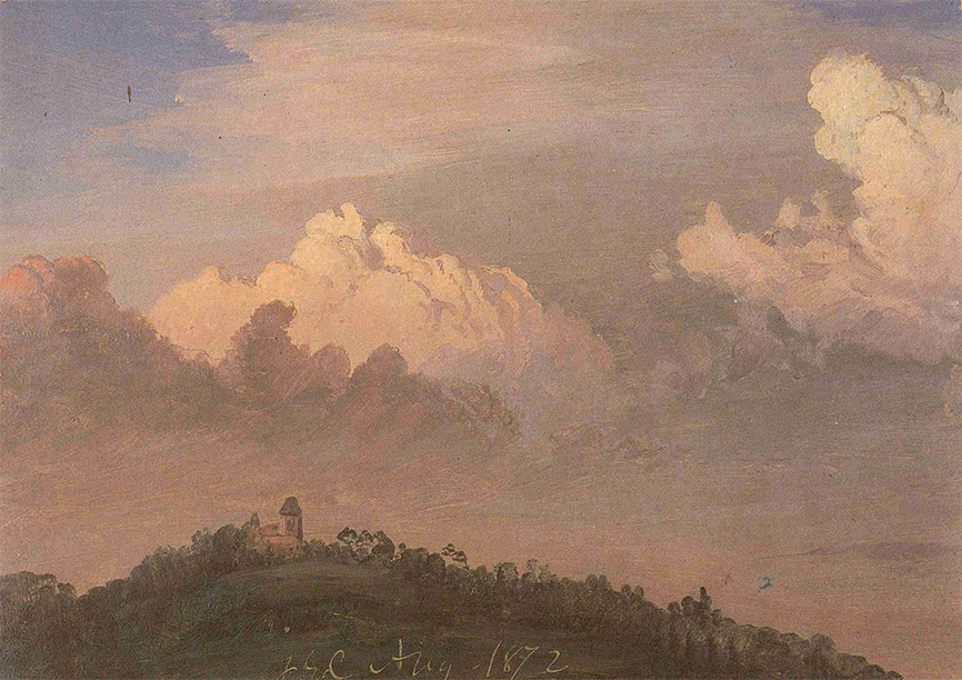 Frederic Edwin Church,  Clouds over Olana,  1872, oil on off-white paper, 8 11/16 x 12 1/8 in., OL. 1976.1, Collection Olana State Historic Site, NYS OPRHP.