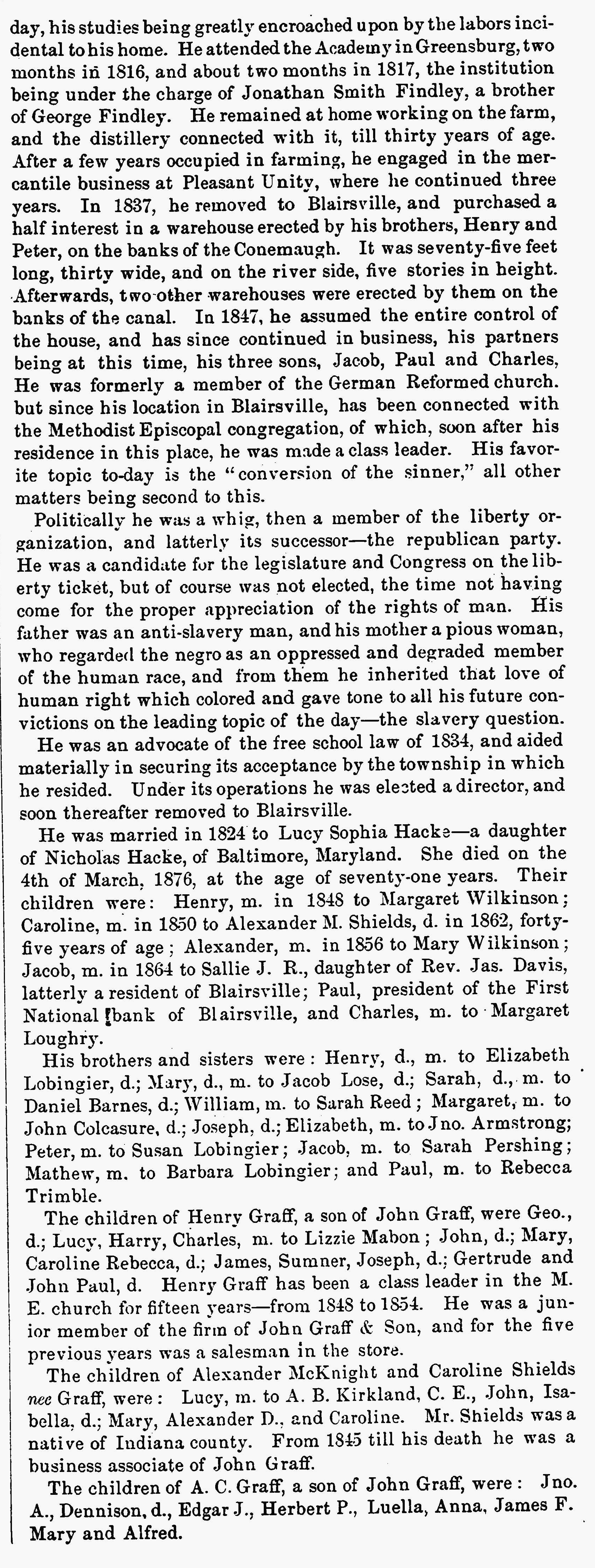 John Graff Obituary, Indiana Messenger, 1885