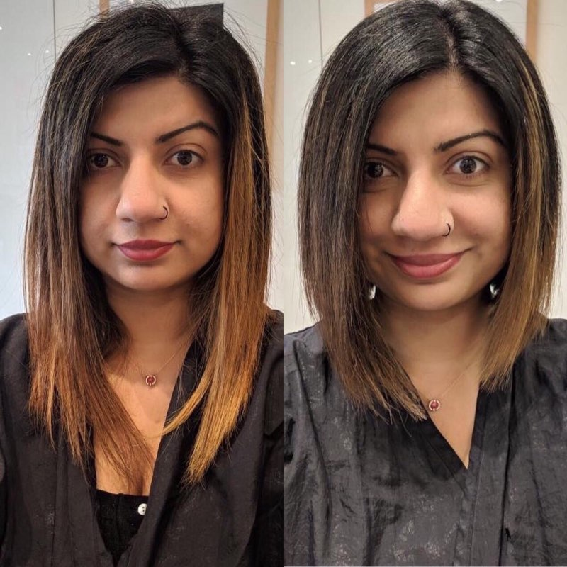 We reated a classic textured graduated bob for this lovely client. It's fun, edgy, and chic for the young urban professional - Styled by : Qasim