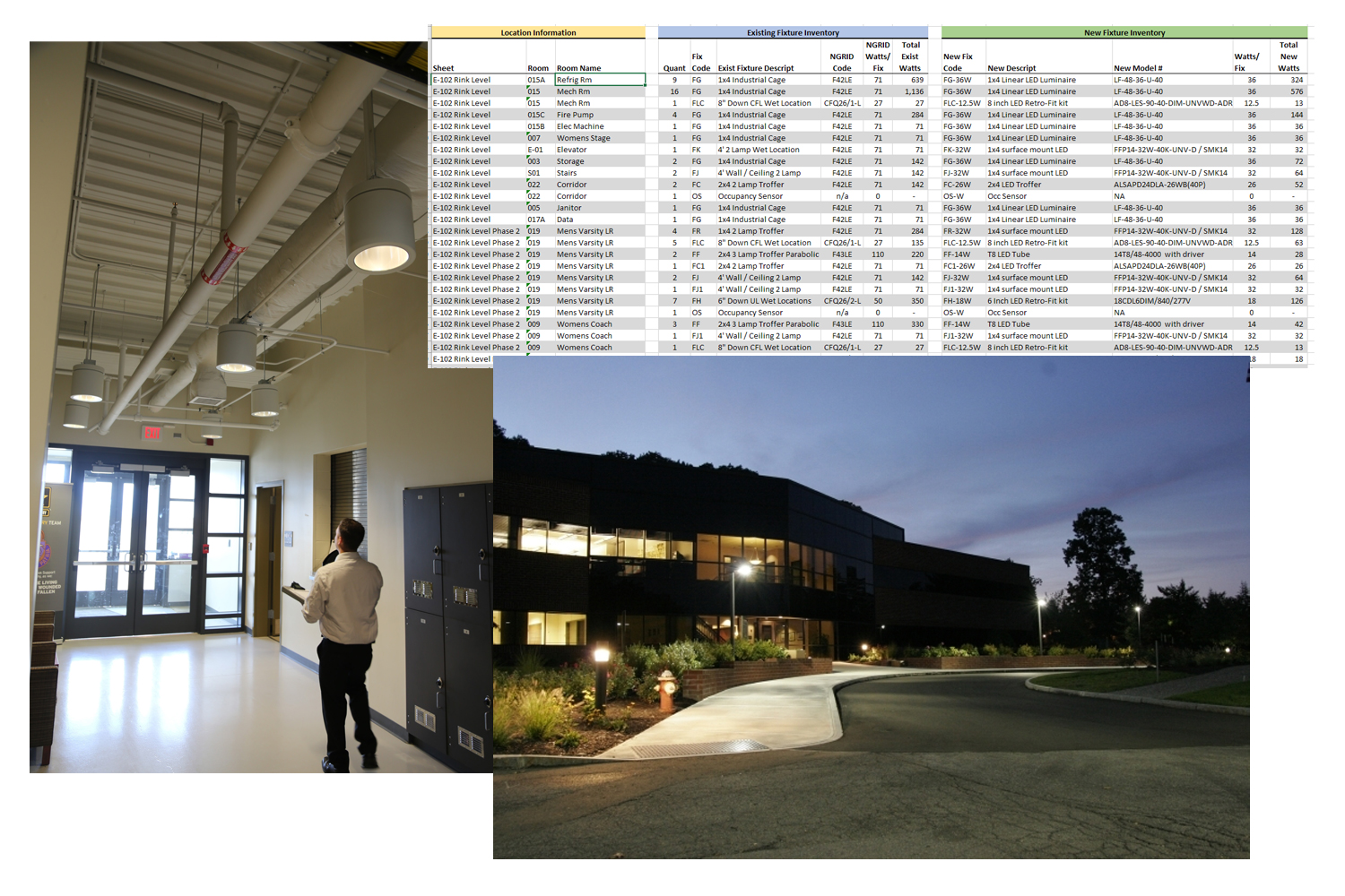 Audit Schedules to Lighting Solutions - Whether it is a industrial space, or a Class A Office Park, lighting solutions are designed to provide lighting performance and to fit within the style of the facility. The audit schedules provide the foundation for the design and fit to the client's lighting solution, and energy saving upgrades.