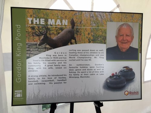 There are plaques around the pond outlining who Gordon King is and his contributions to the community.