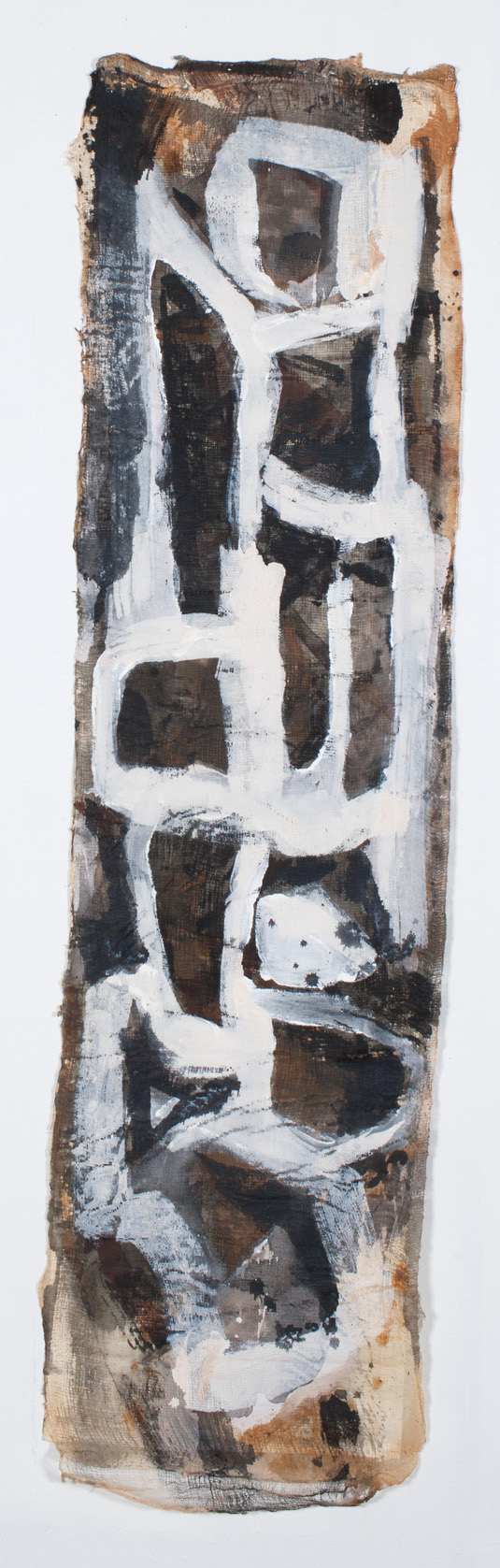 "Karyai I  15 x 57"" ink on rice paper-cloth"