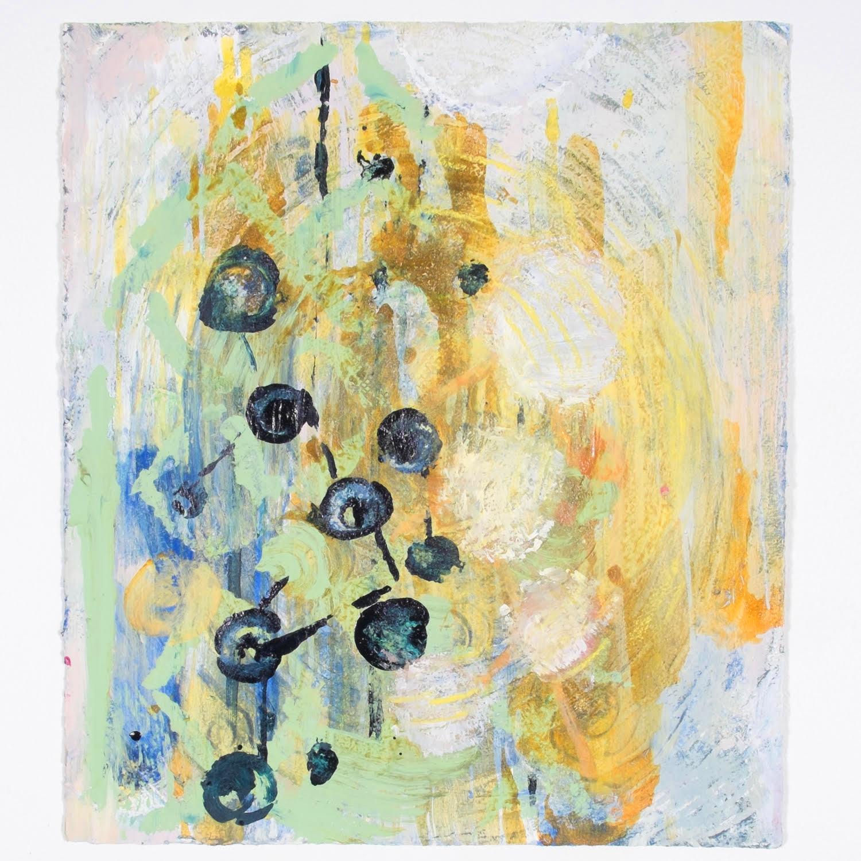 "Pondicherry Pond    15 x 13""  acrylic on embossed cotton rag paper"