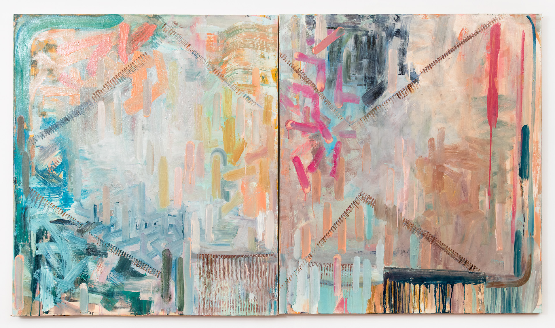 "Sylvia's Saga  50 x 88"" (diptych)  oil on canvas"