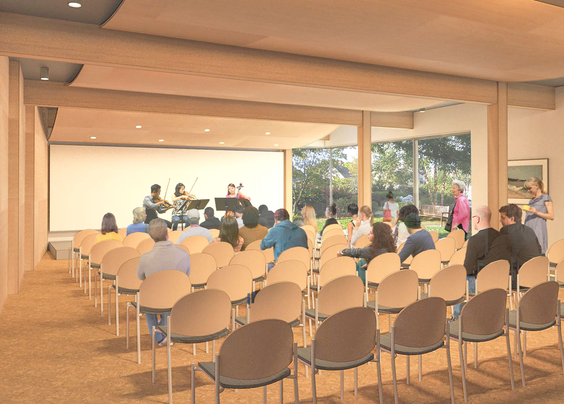 Artist's rendering of a concert in the new Community Room