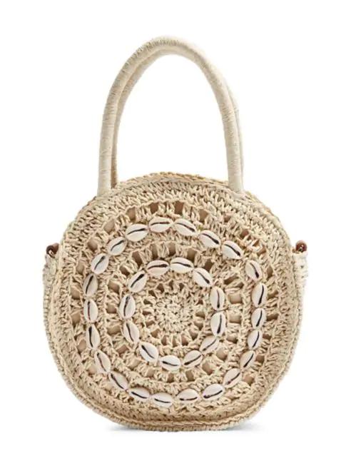 Round Shell Straw Grab Bag