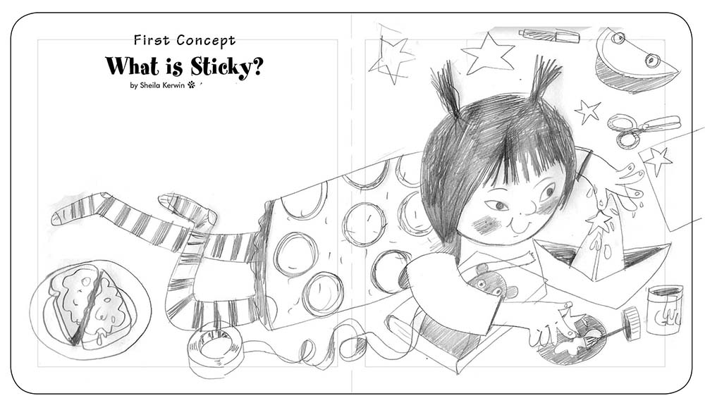 original sketch by Brianfitzer for what is Sticky illustration
