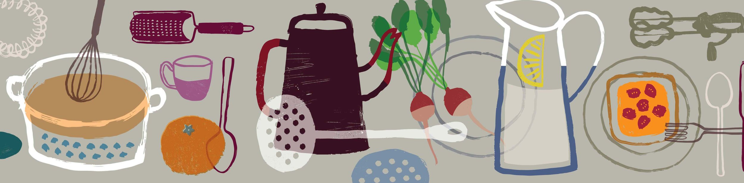 A section of the wall mural for organic restaurant interior.