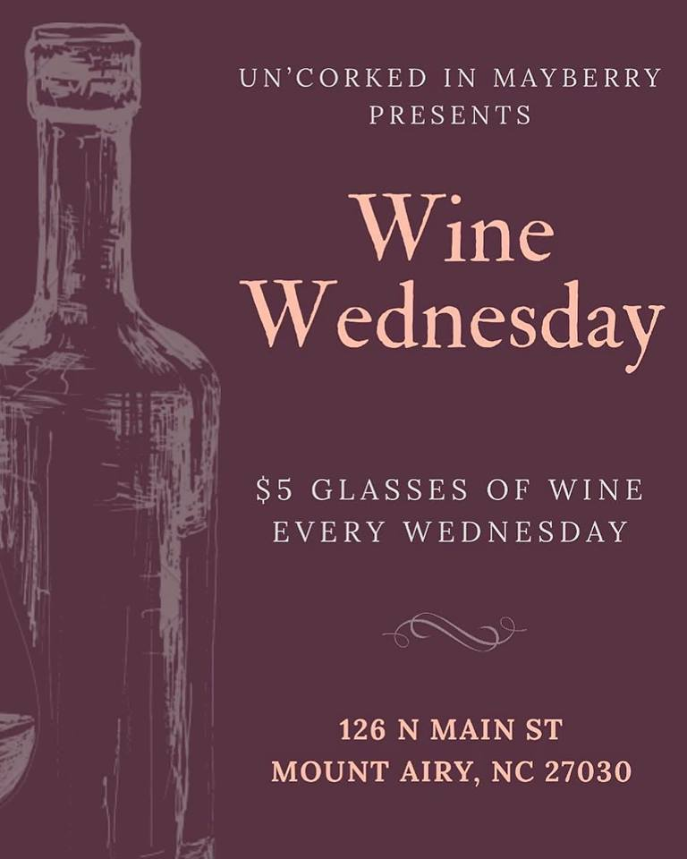 Wine Wednesday - The Wine Wednesday special is $5 on all glasses of wine all day, every Wednesday.