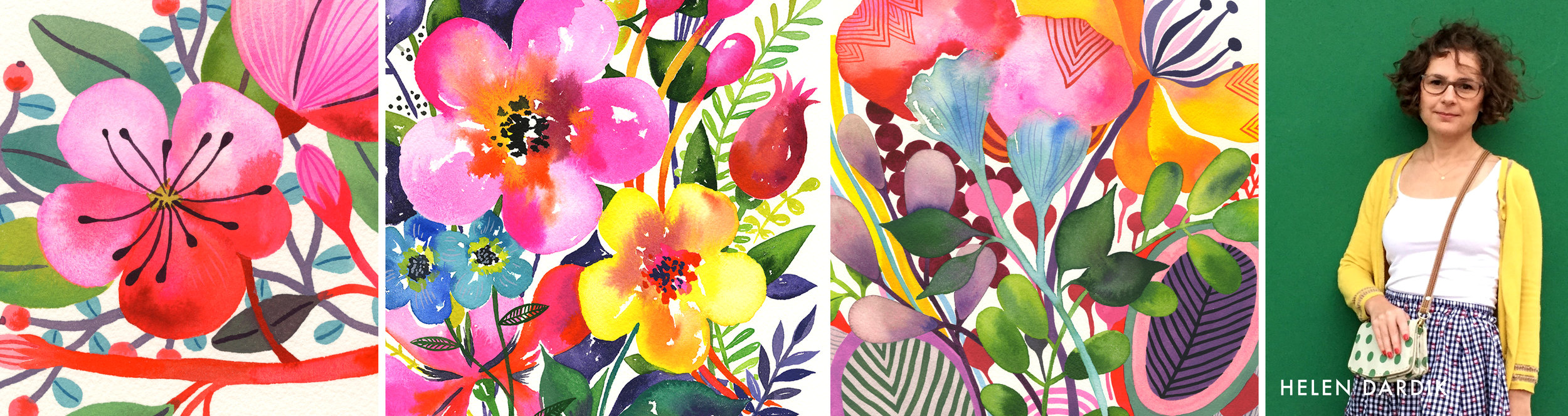 Helen Dardik is a professional illustrator and a surface/pattern designer based in Canada. Vibrant, folksy, playful toomuchery is a perfect way to describe her style. Born by the Black Sea, Helen lived in Siberia for a time and then moved to Israel, where she studied art and design. In the early nineties she relocated to Canada, where she got a graphic design degree and found work as a designer and illustrator.