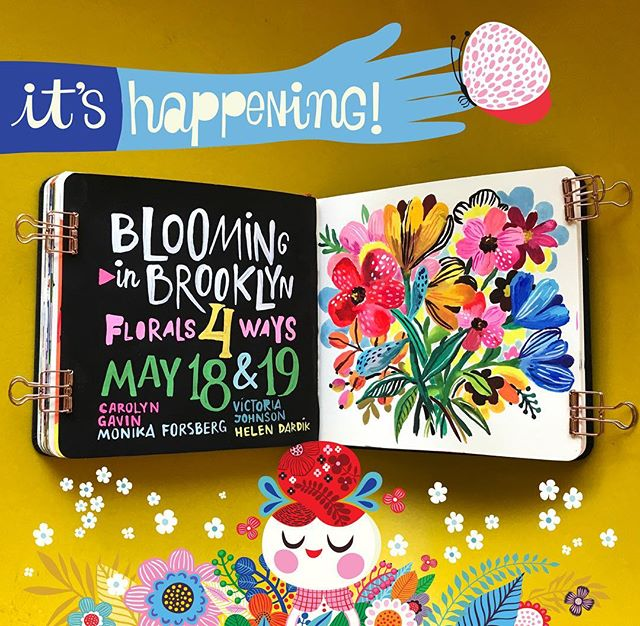 A full day of Floral Painting with @carolynj , @monika_forsberg, @victoriajohnsondesign and me in Brooklyn! Join us on Saturday May 18 or Sunday May 19 for an amazing workshop we've planned for you! The link is in the header... but, if you would like more information - please DM me your e-mail address and I'll send it over. Hope to see you in Brooklyn this May!😁