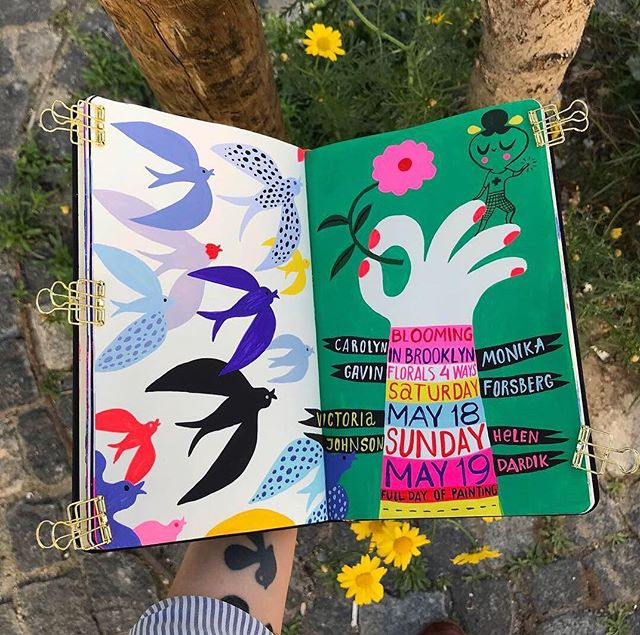 Last photos I've taken in Lisboa are of this promo for Blooming in Brooklyn workshop that is coming up in May! That's my next adventure! Come meet me and @carolynj and @monika_forsberg  and @victoriajohnsondesign in Brooklyn! I only have a few spots left 🙂... painted this in @ecojot sketchbook with #holbeinacrylagouache