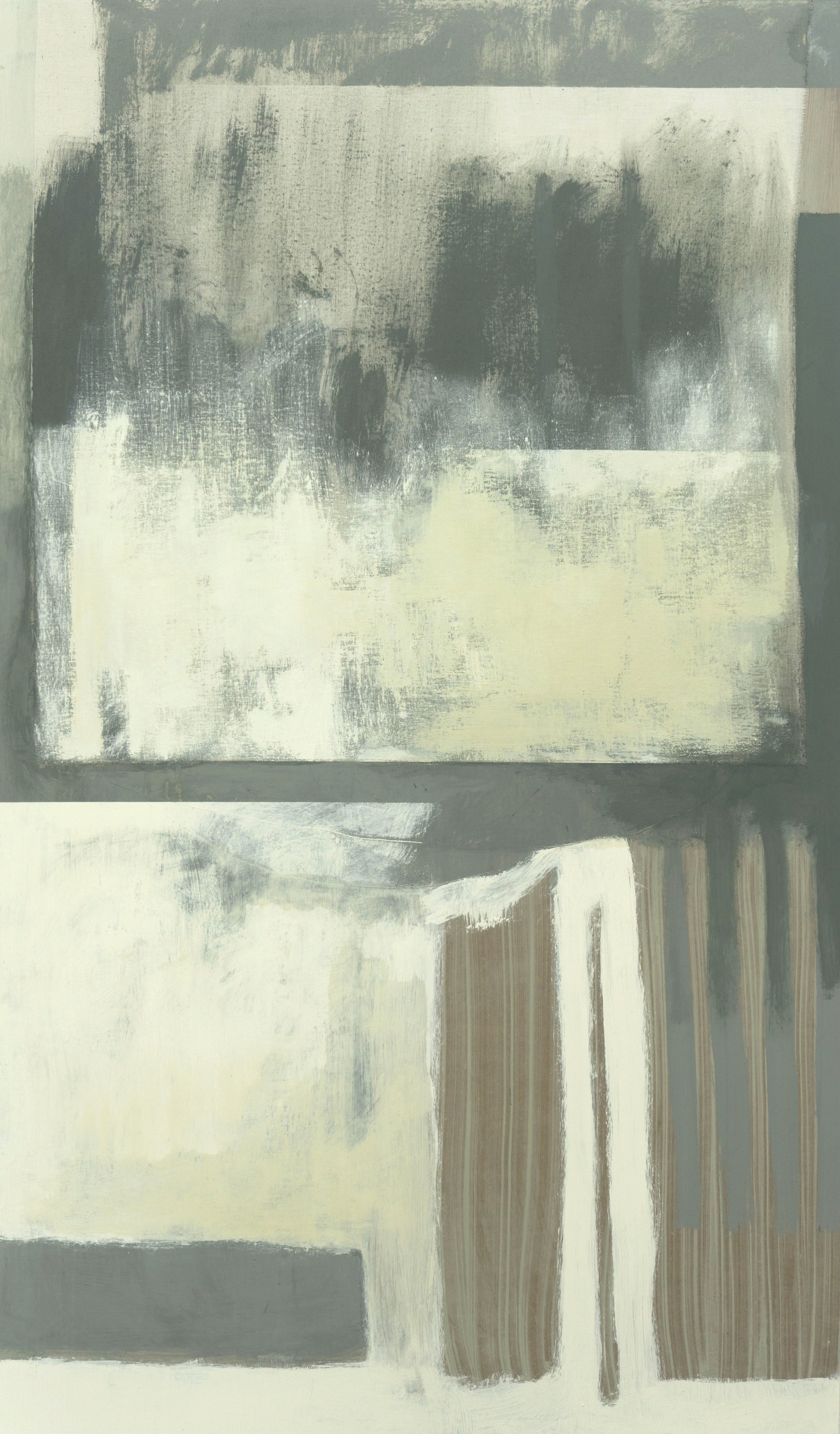 Untitled (100x170cm)  (Acrylic, linseed oil, lightweight calico and oil bar)  £