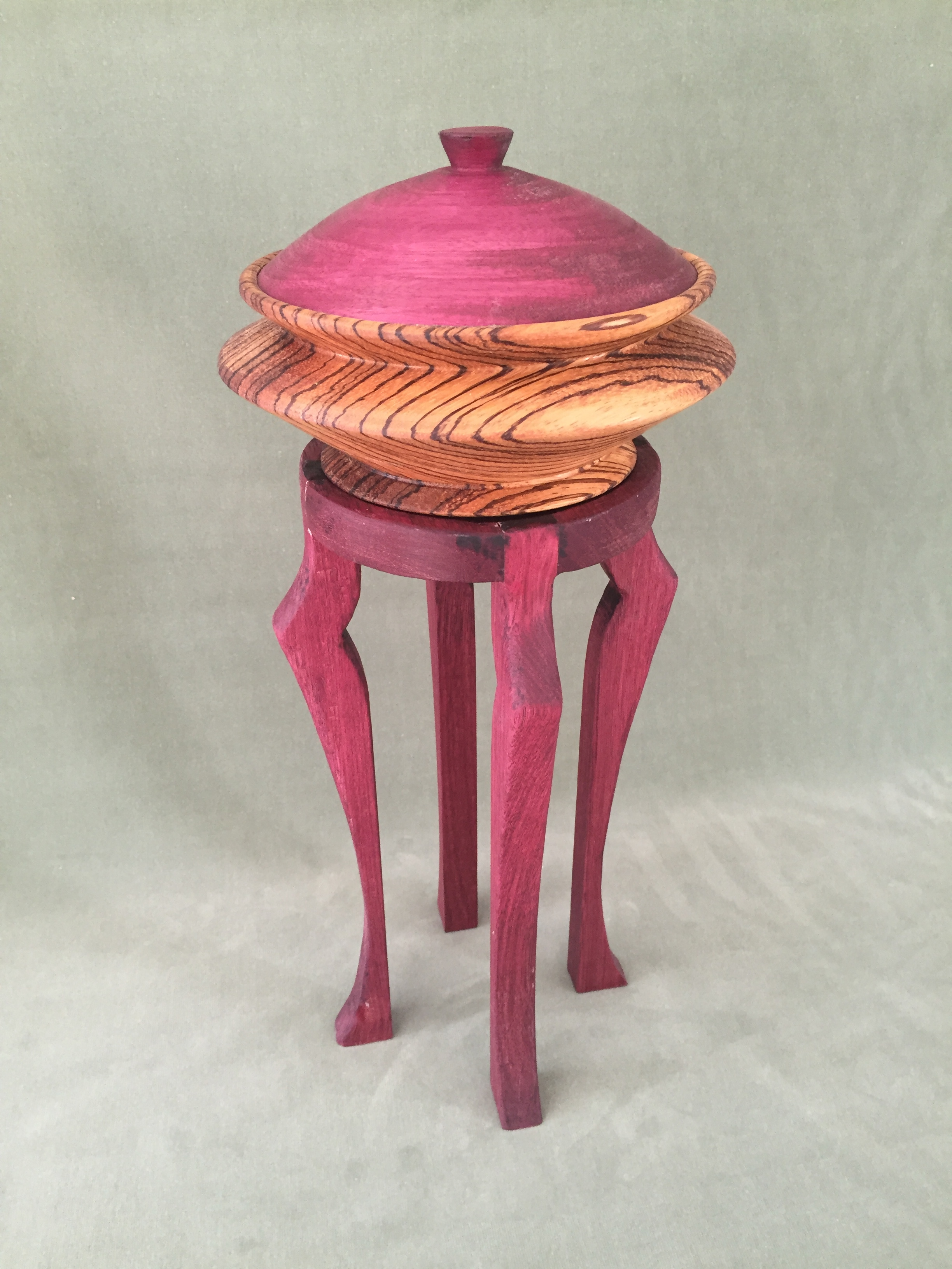 Purpleheart/ Zebrawood Bowl with Stand