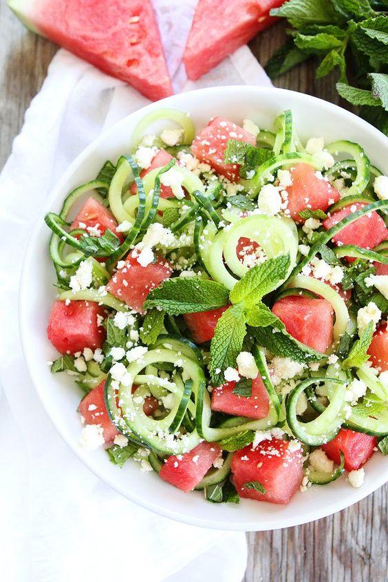 Cucumber, Watermelon and Feta Salad