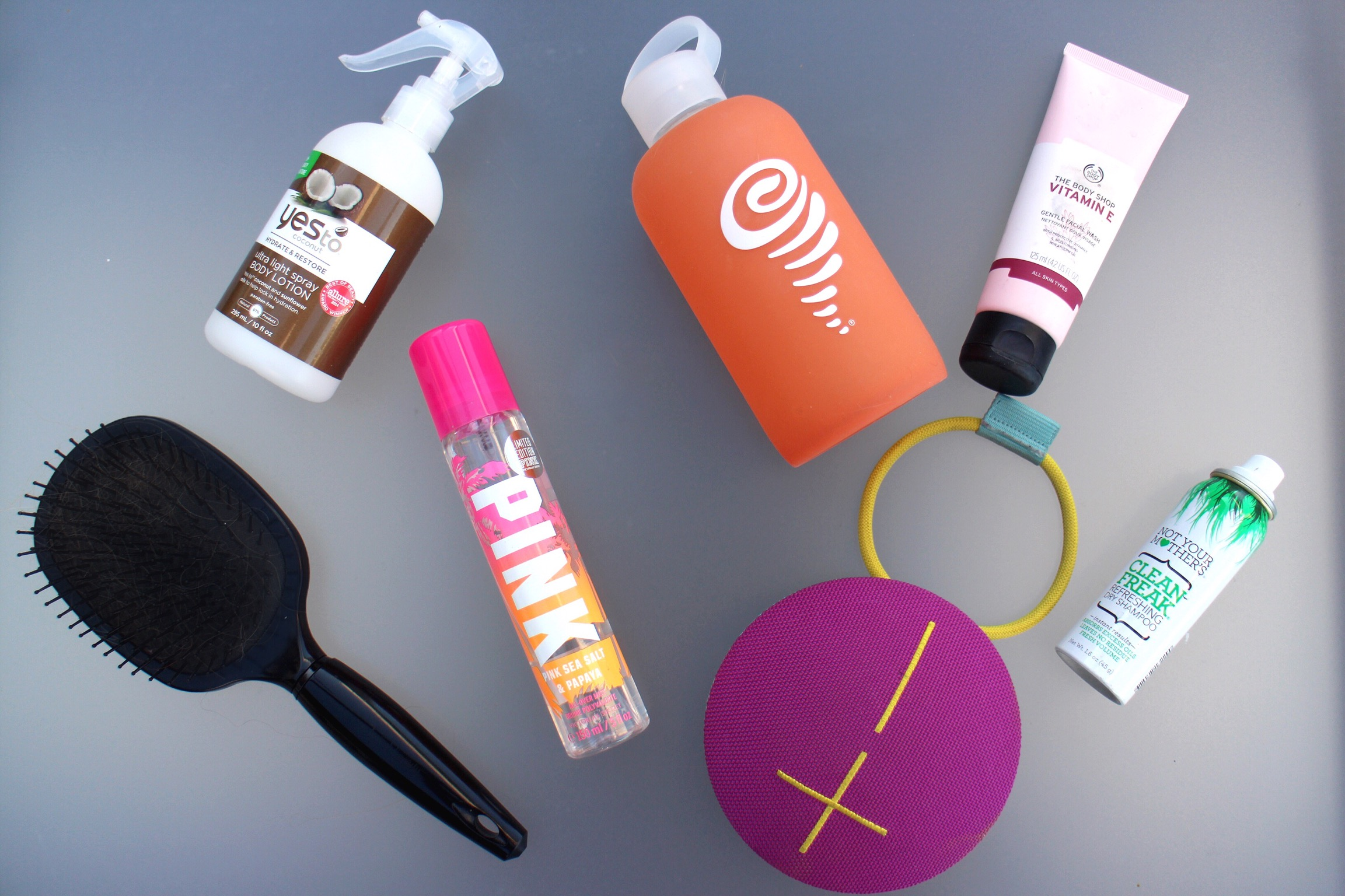 Toiletries - Keeping a small bag with travel size essentials is always key to any gym bag. Cynthia keeps hand sanitizer, hair ties and other feminine products in hers to make sure she always feels fresh and clean