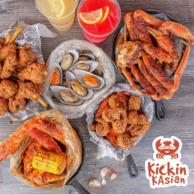 """Kickin KAsian - Our first pick is Kickin KAsian, an Asian-Cajun fusion restaurant. Locations in both Encino and Northridge, the restaurants have southern favorites like fried okra as well as Asian inspired items like thai tea. Our go to order is a half pound of traditional shrimp and """"the works"""" (corn, potatoes and Andouille sausage) with the KAsian seasoning."""