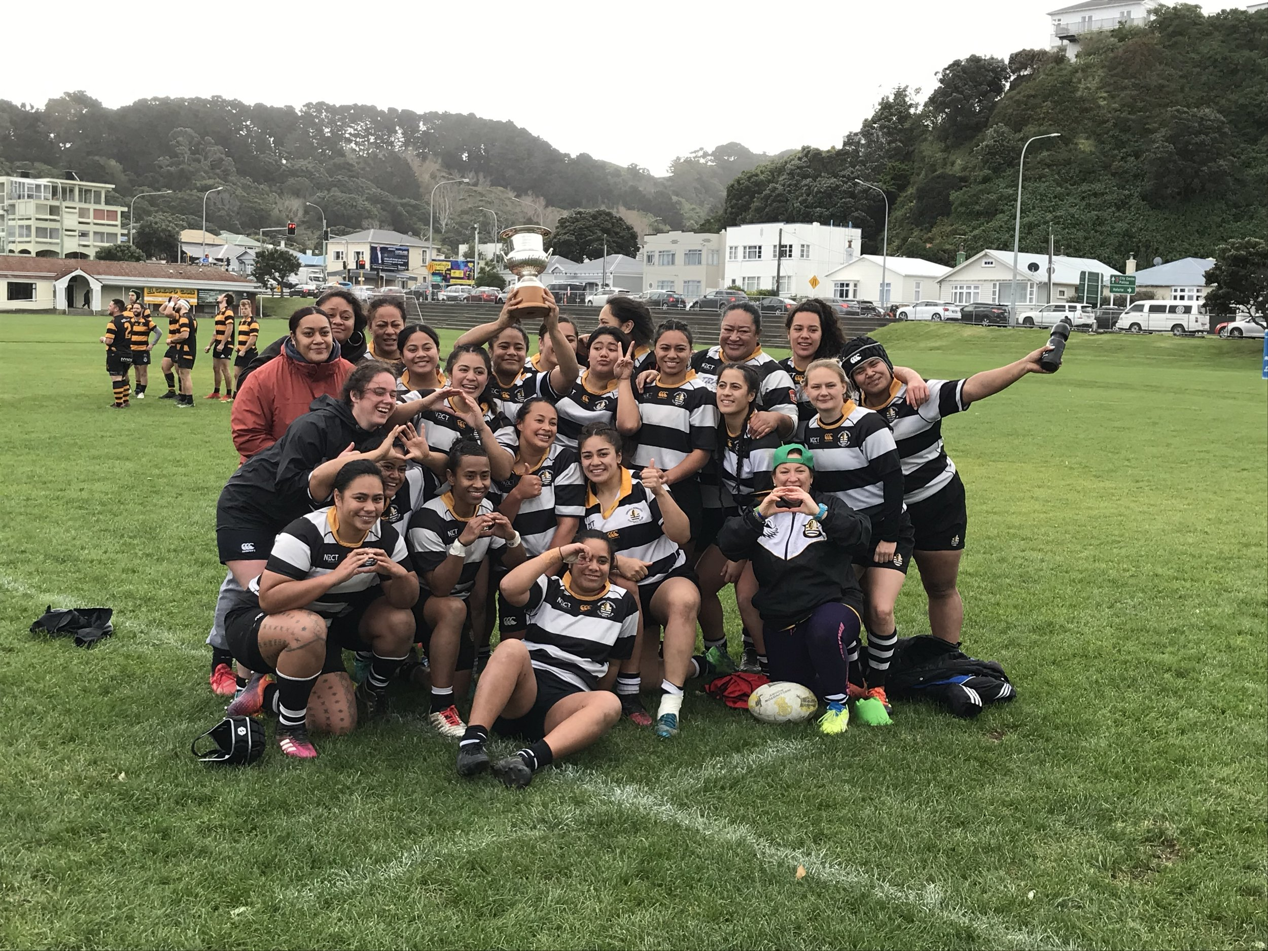 The Oriental-Rongotai Women's team with the Rebecca Liua'ana Trophy after their win over Marist St Pats