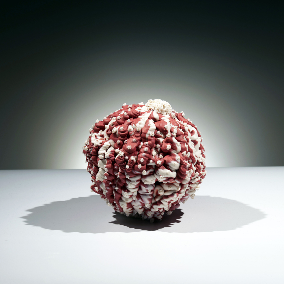 """Island of Resilience: Red and White    2018  porcelain  8""""h. x 9""""w. x 9""""d."""