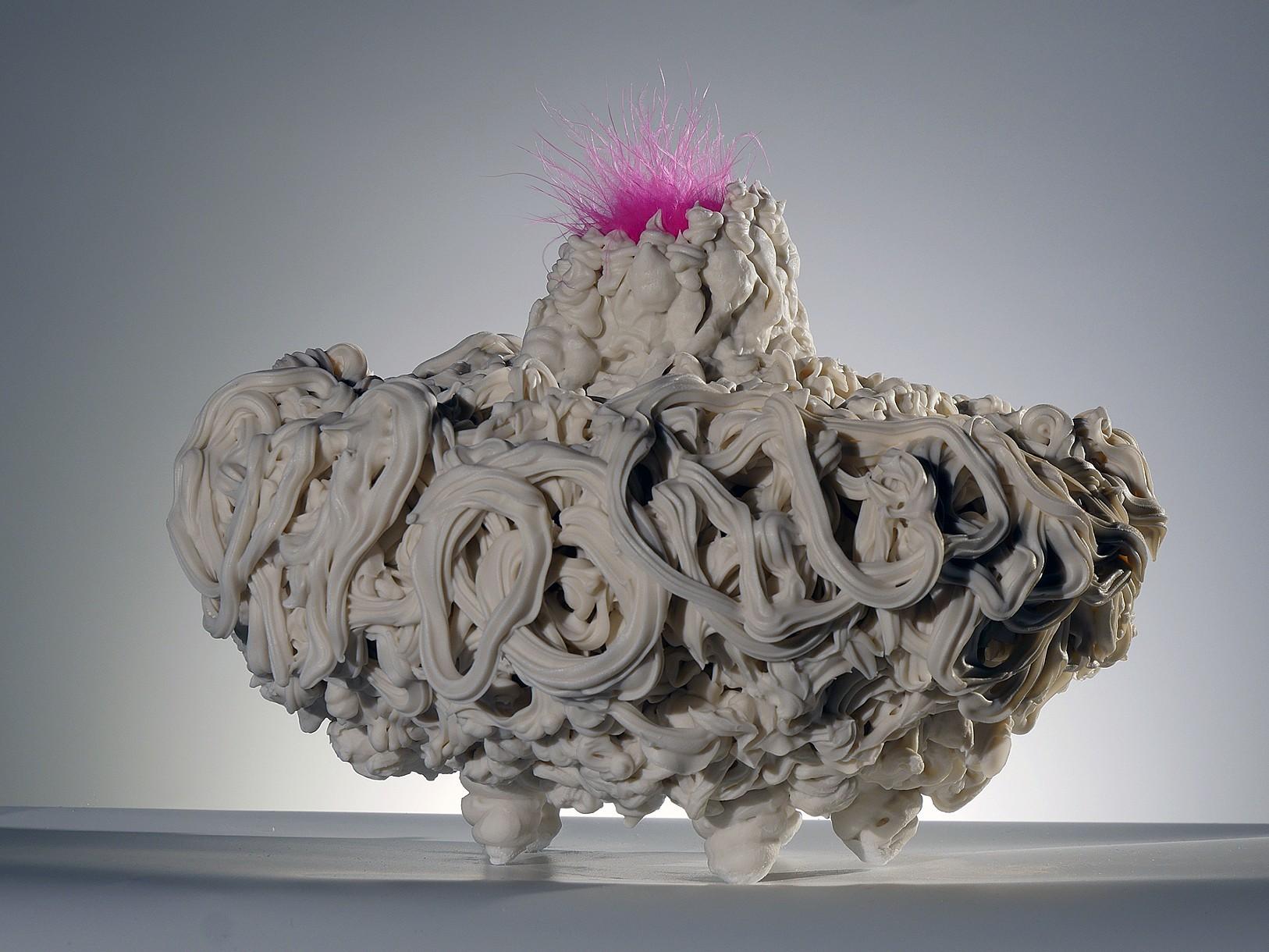 """Pink Pow    2018  Ceramic, feathers  6""""l. x 6""""w. x 8""""h."""