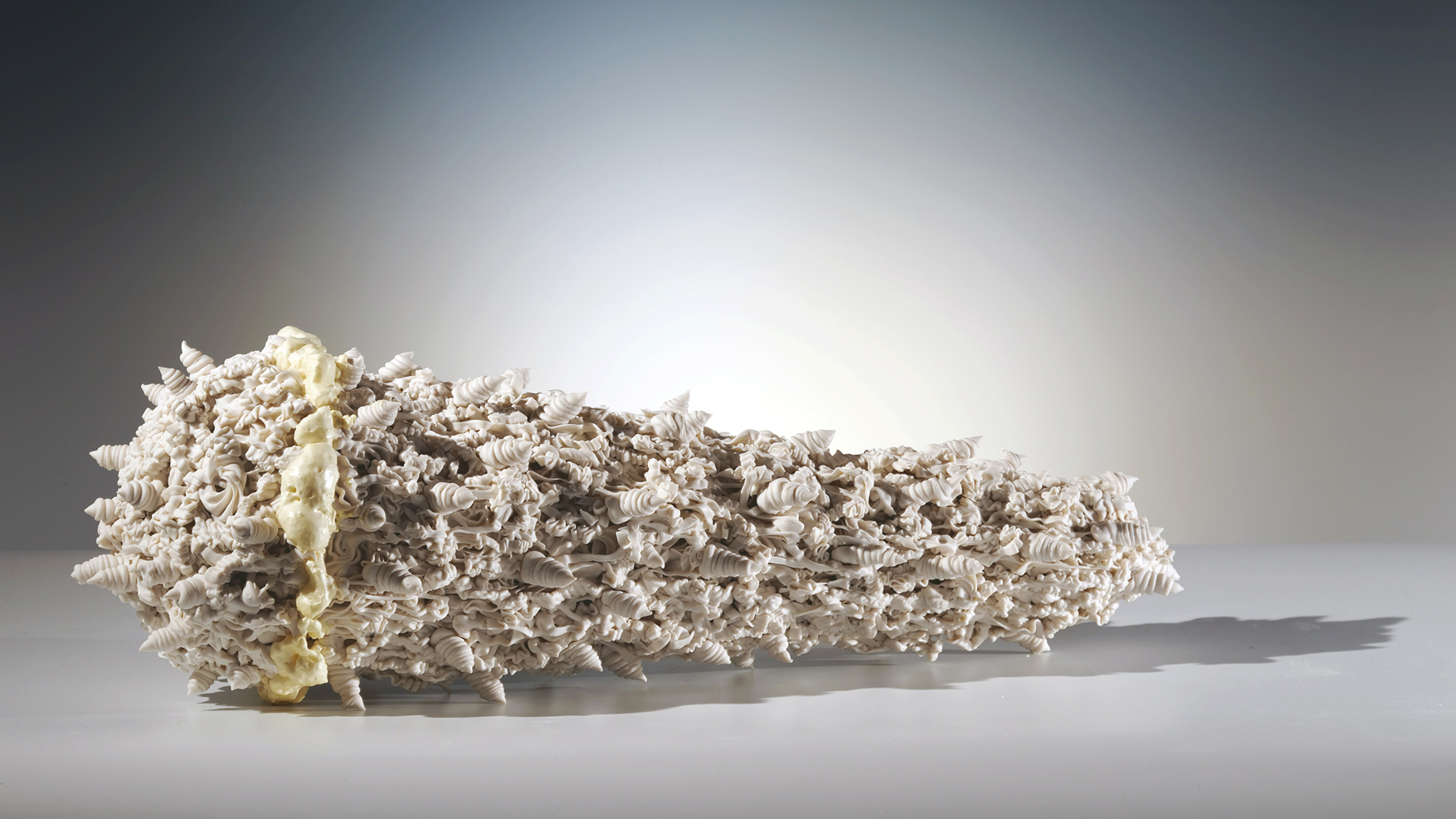 """Island of Resilience: soft and hard  porcelain and foam  22""""l. x 9""""h. x 7""""d.  $1200"""