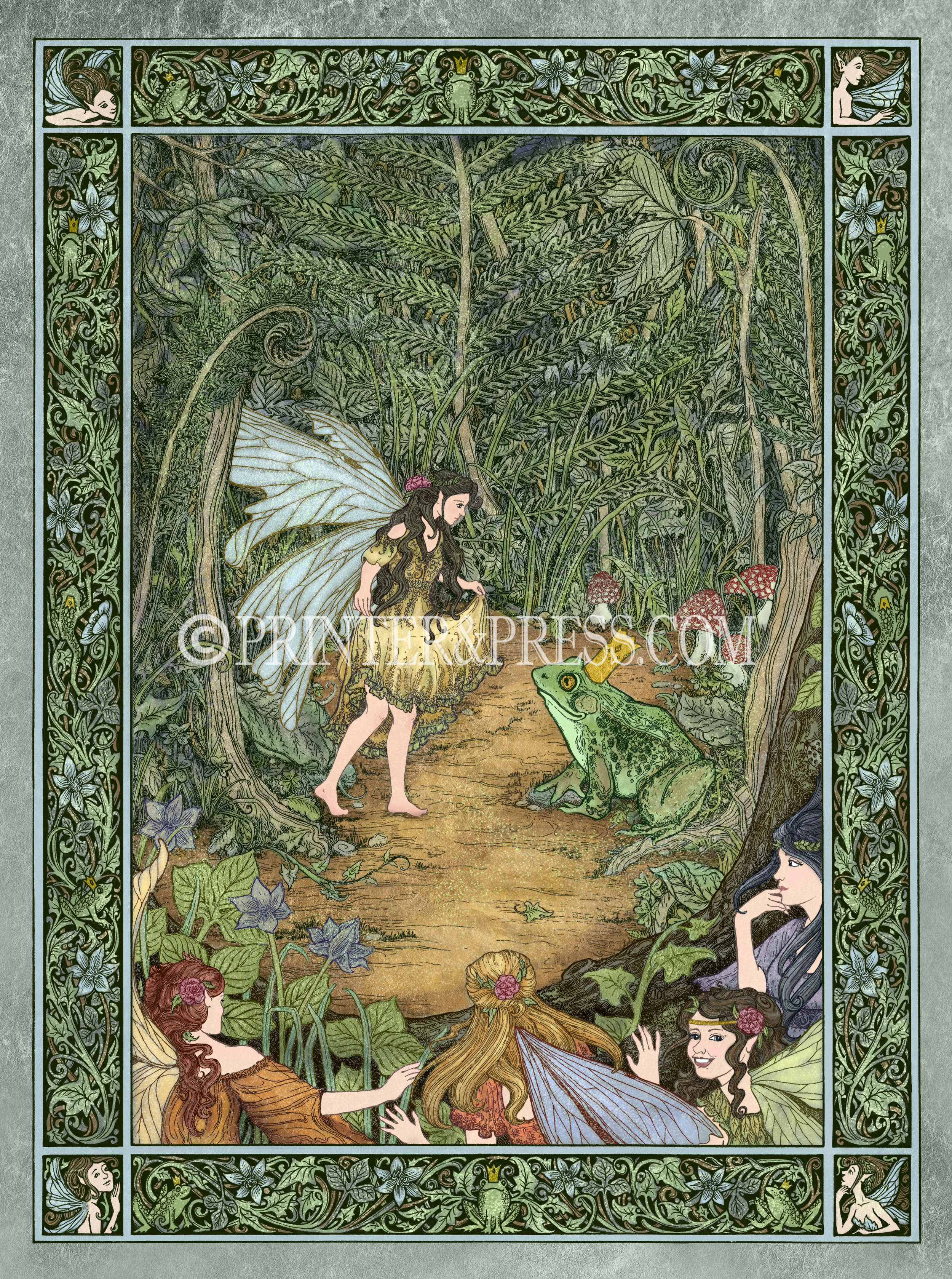 A delicate Faerie curtsies to the King of the Frogs, while her Faerie friends watch from the corners. This piece came to me when I knew I wanted to make an illustration with faeries, and once I added the frog I knew she had to be curtsying! It's such a magical scene, and of course the other faeries would be spying from behind the plants, because what faerie isn't just a little curious?