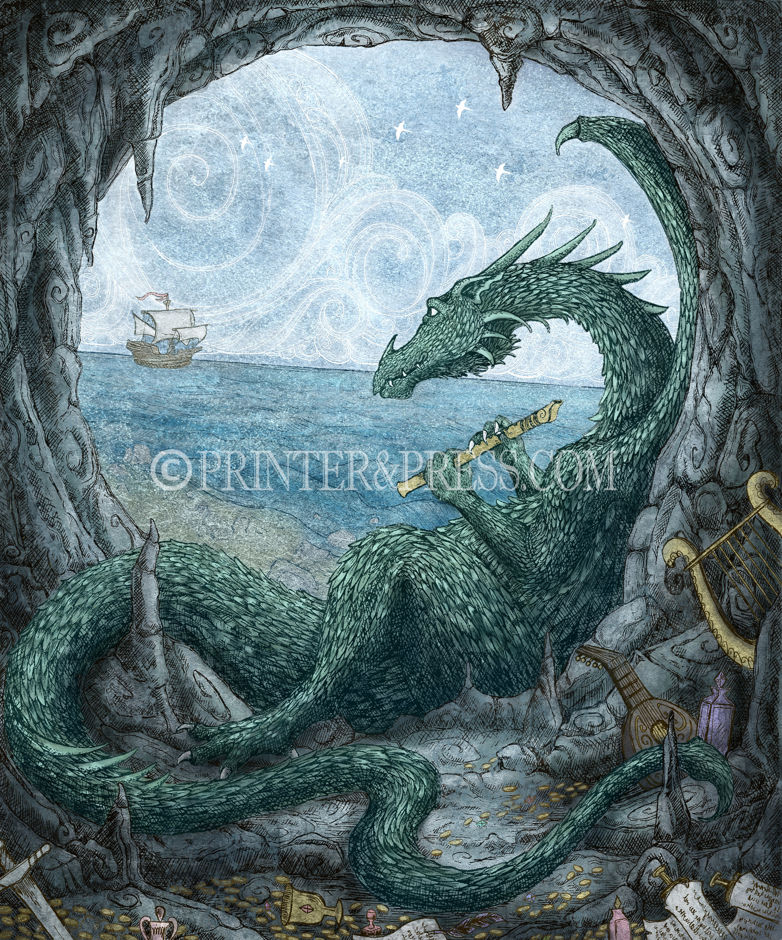 "This print was drawn from the song by Peter Paul and Mary, ""Puff the Magic Dragon"". Puff is patiently waiting in his cave by the sea, filled with musical instruments and magic. This piece was originally made as an intaglio etching, and has been scanned and digitally colored by me to make this colorful version. I had to try multiple instruments in his hands before deciding on the recorder. The rest of the instruments blocked his face! So I decided he would perhaps be a hoarder of musical instruments, as any good dragon is."