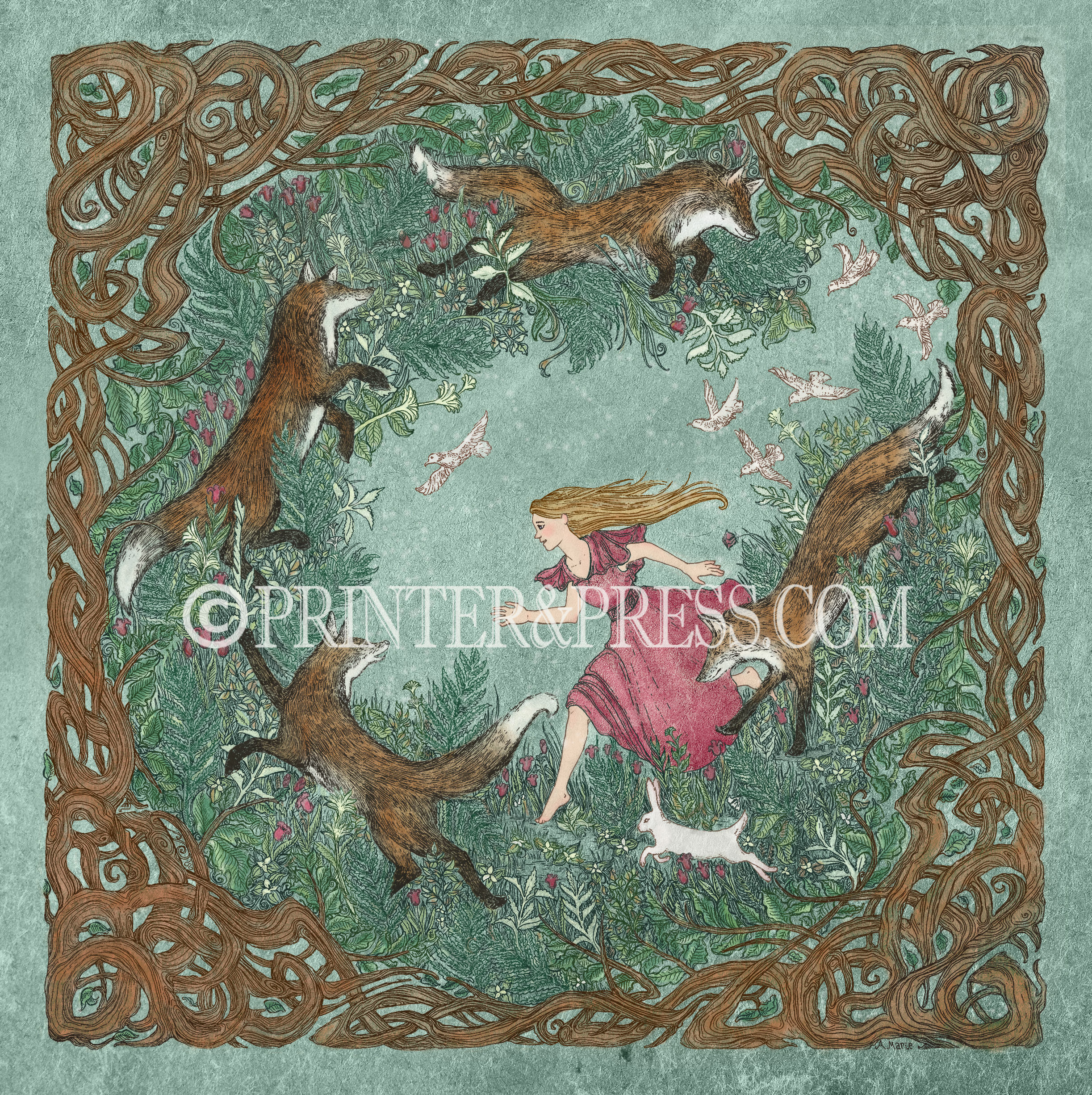 This young girl has found a magical spot in the tangled woods to frolic and play with four frisky foxes. The lovely greens, browns, pinks, and white colors add to the beauty of this digital print. The original drawing for this piece was made as an intaglio etching before being scanned and colored digitally in Photoshop.