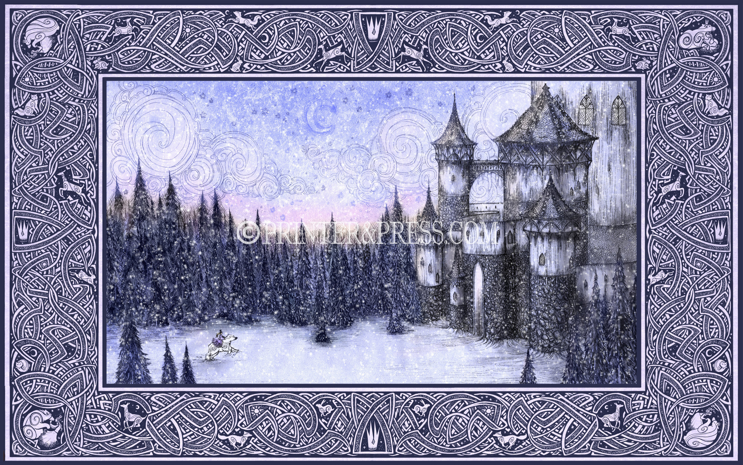 This print was made first from an etching, based on the story of the Princess and the White Bear King, with the Princess riding a great white polar bear through a dark forest towards the castle. This piece shows the castle they are heading towards and the great expanse of the forest at sunrise!