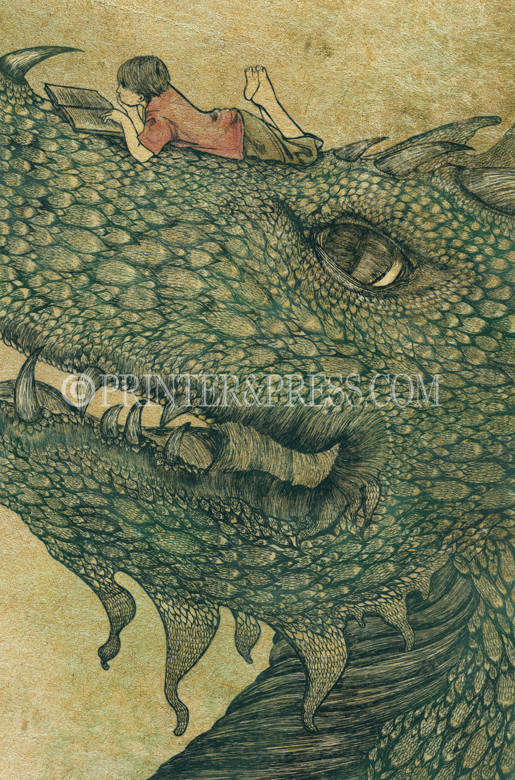 This print was inspired by my love for dragons and for reading. I made this image of a small boy reading on the dragon also to echo my memories of my twin brother who was always always reading as a kid.
