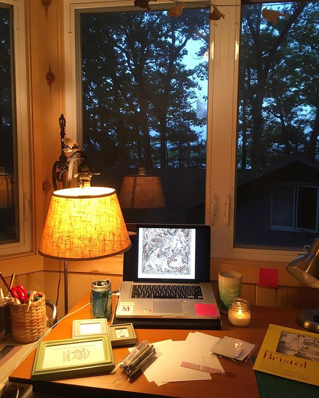 This week is all about Ann Arbor prep! And since my next show is actually in Leland this Saturday, that means I'm working in the studio at my family cabin for the week! ✨ It is very magical, and significantly better than my studio at home that is still undergoing ceiling repairs 😓😬 But for now I'm just enjoying the up north atmosphere as I hope I'll have enough work for next week! ✨