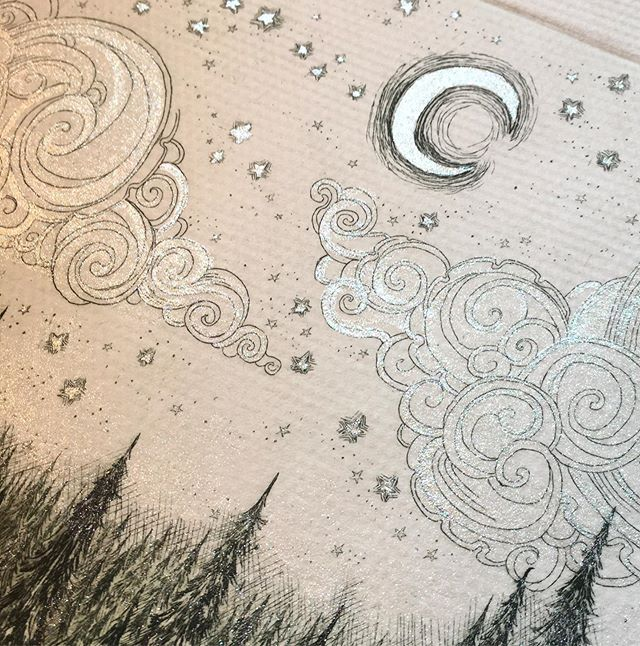 """Really excited to have watercolored an etching today that I never had before! I used a lot of silver glitter ink and tried to get a shimmery picture. I promise it's very shimmery in person!  See this new shimmery """"Ride to the Castle"""" etching this weekend in Sutton's Bay! ✨✨✨"""