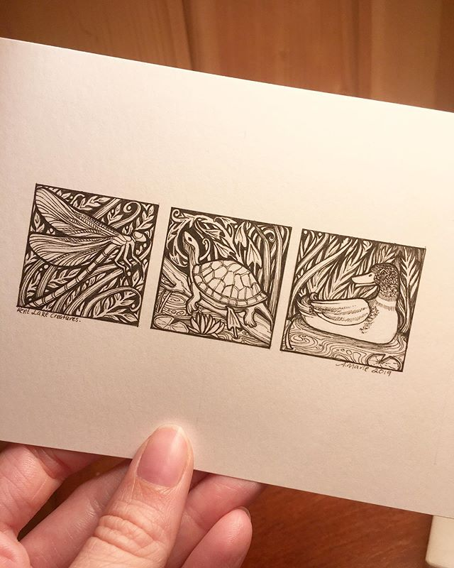 I spent today hanging with family, but also had time to draw this new tiny original trio! These are the creatures I saw on Kent Lake at Kensington Metropark when I went kayaking last week. A damselfly, a turtle, and a duck! I will have this piece with me this weekend at the Sutton's Bay Art Festival! ✨✨✨