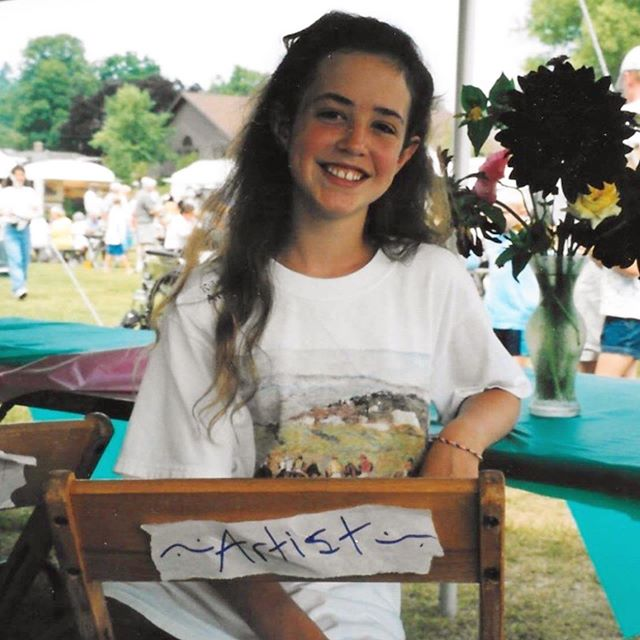 This weekend is my first time participating in the 40th annual Sutton's Bay Art Festival with my own booth! Many of you may not know that I actually got my start in this festival as a child in the kids' tent back in the early 2000s.  I used to paint boxes and egg ornaments and sold them for five summers in Sutton's Bay.  It was actually my grandmother, Mimi, who sparked my interest in art fairs in general.  She would take me to all the local shows up in Leelanau county, as well as encouraging me to paint and sell my boxes.  She herself used to be a basket weaver, making black ash and nantucket baskets; she actually participated in the very  first Sutton's Bay Art Festival in 1980.  My Mimi passed away in 2012 and was never able to see my current body of work or my life as an art fair artist, but I know she would be so happy to see me finally in Sutton's Bay this weekend.  I will be thinking about her the whole time ❤️ Scroll through to see some old photographs of Mimi and me at the fair throughout the years! (Show starts tomorrow, 10-6!) ✨✨✨