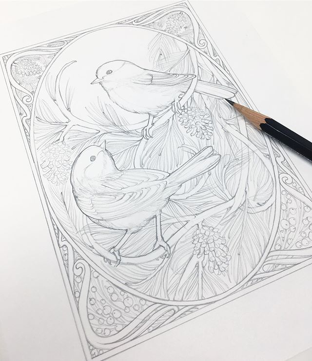 I'm *finally* working on new bird cards!! After countless delays this summer, it's actually happening.  My original bird cards were my most popular set, but it was really time for them to retire so I could draw all new birds. I'm starting the new set out with the Black Capped Chickadee, always my Mimi's favorite, I've chosen birds I have an actual connection with this time. ✨✨✨ Hopefully I have these done in time for Franklin and Art & Apples!