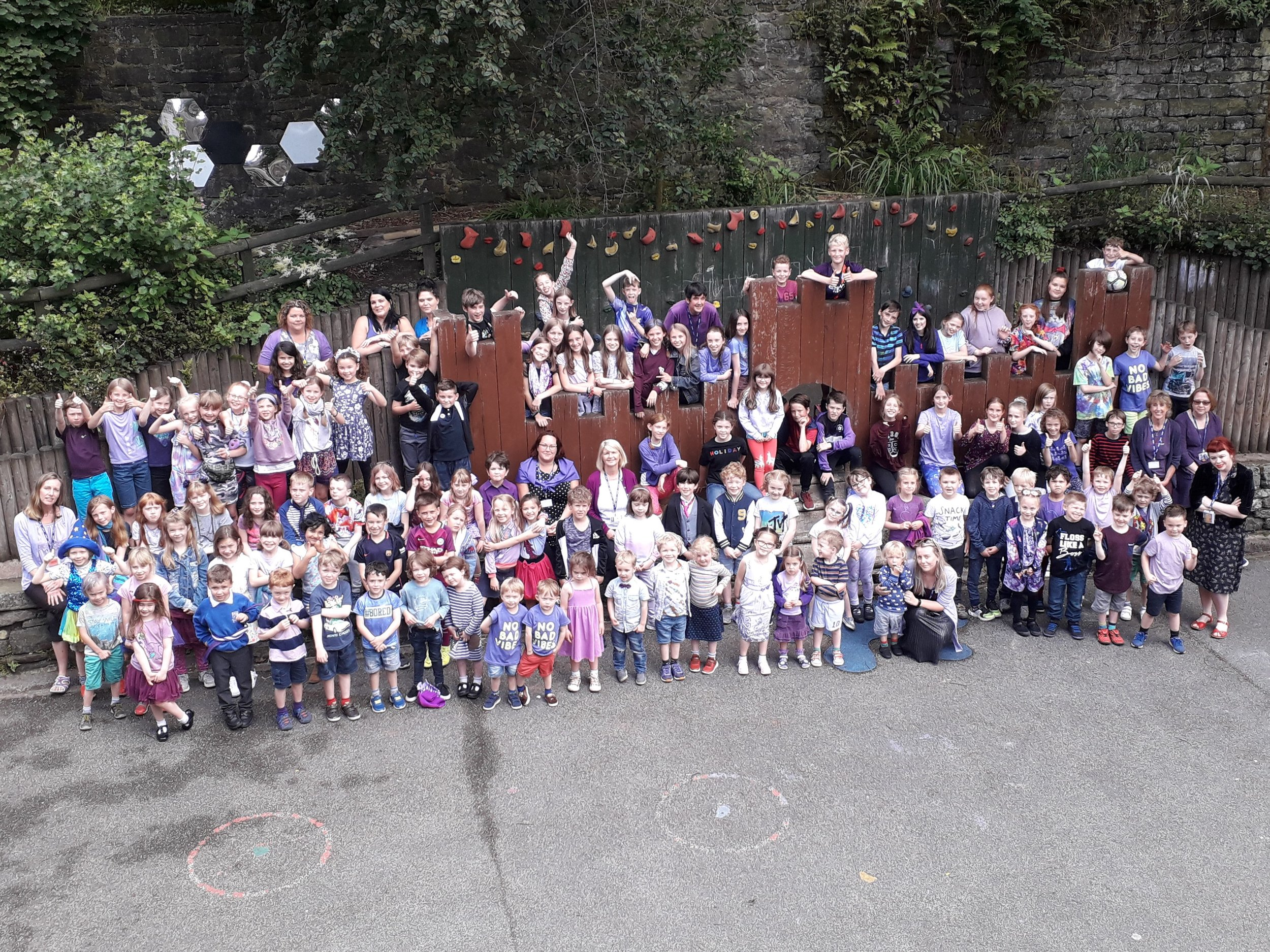 Everyone's gone purple! - The whole school dressed in the late Mrs Thomas' favourite colour purple to remember her and her fantastic contribution to Hebden Royd as our music teacher.We miss you very much Mrs Thomas and we hope you are proud that we raised over £120 for Cancer Research.