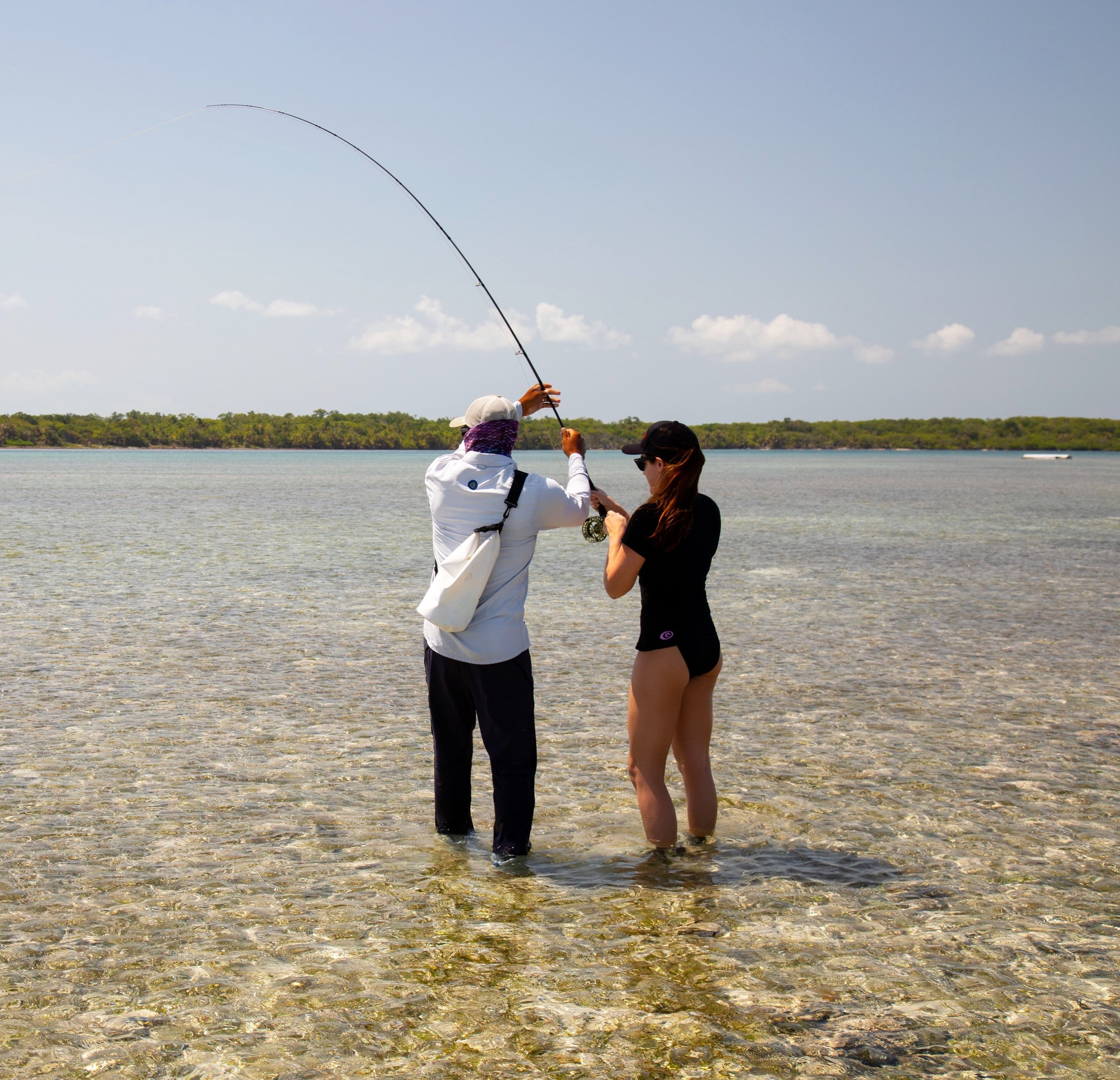 a fly fishing lesson on the flats in belize