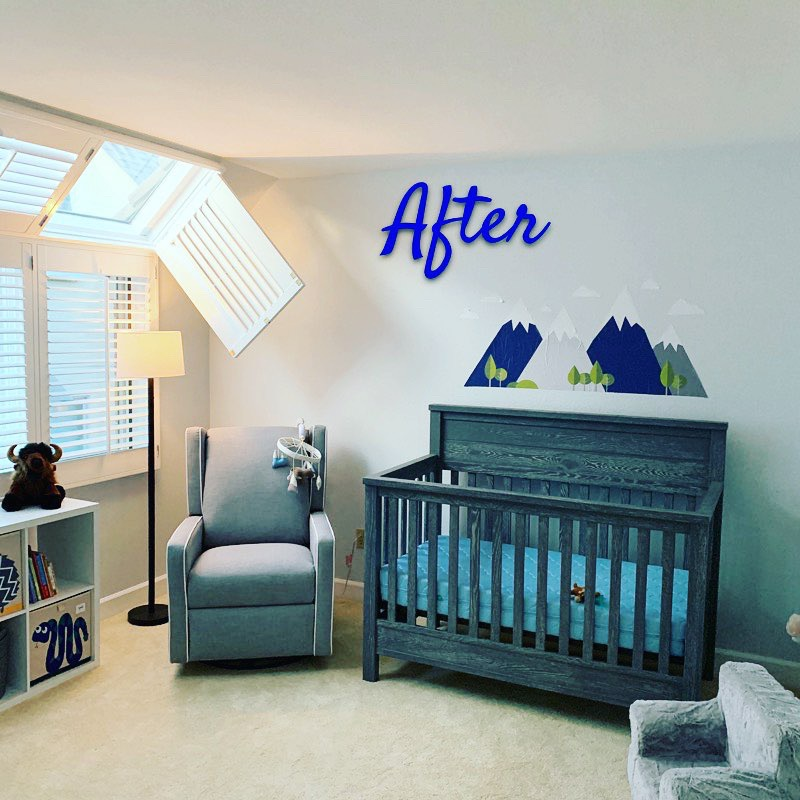 Baby Bliss, Cherry Creek - I had so much fun helping this mama make her nursery cozy and calm. With the Rocky Mountains above the crib, this nursery is perfect for a Colorado boy! We created a beautiful reading nook, changing station, and a place for toys and books. Baby Miles is one lucky boy! Added bonus? We were able to find space in Miles' closet for her seasonal clothes! #mamasmakeitwork