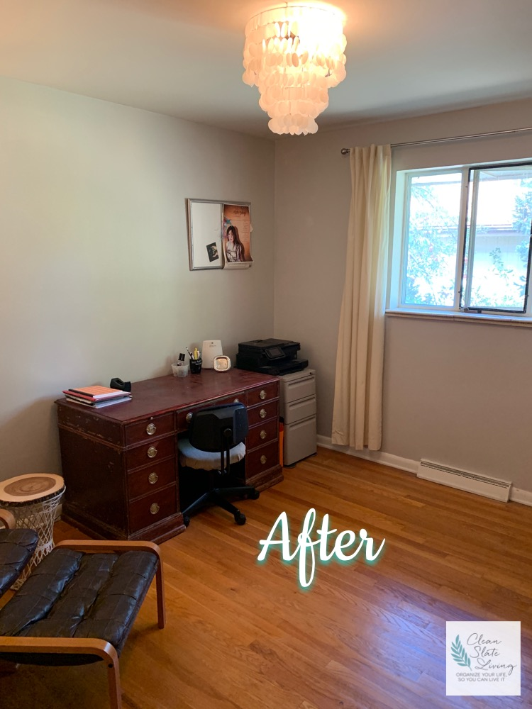 """Family Office Restoration, Littleton - My client closed the door to this room, if she knew people were coming over. If the door was left open, she hurried past it, for fear that she would catch a glimpse of what was piled up inside. The family office had gotten out of control, becoming a receptacle for things that didn't necessarily """"belong"""" anywhere. This office needed a reboot and new purpose. We found the floor, and everything just flood from there!"""