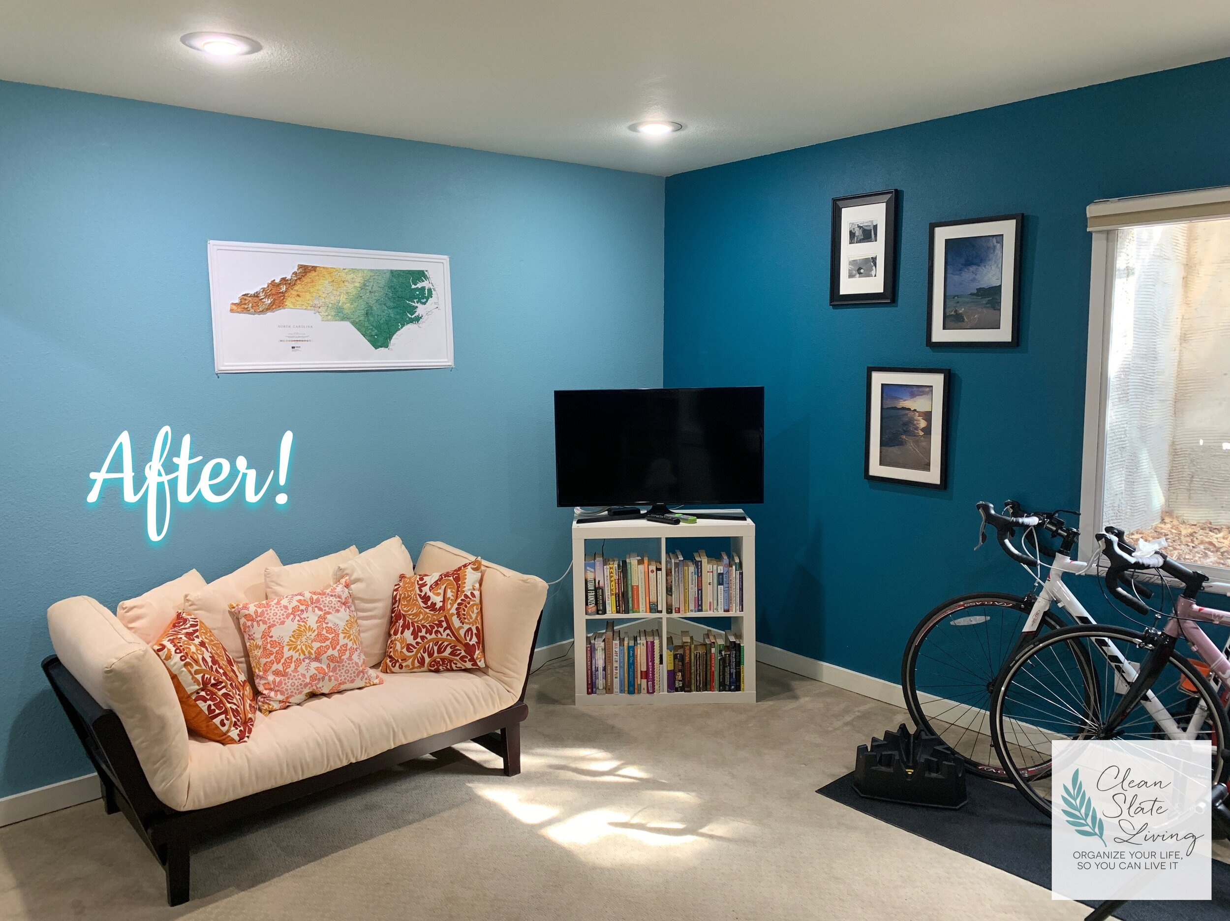 """Working It Out, Boulder, CO - This is one of my most favorite transformations to date! When my client saw the finished product, she was almost speechless. She said, """"Wow! I didn't realize you were going to transform this room. I just thought you were going to organize it!"""" So much of the time, the two go hand in hand😉 Now, the office/exercise room is exactly that - a welcoming place to work, AND workout!"""
