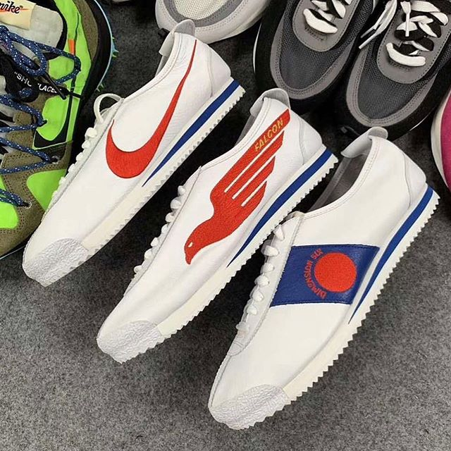 "Interesting trio of @Nike #cortez dubbed the ""Shoe Dog"" Cortez Pack coming in July. All sharing a red/white/blue colorway and OG construction with leather uppers featuring alternative logos that were discarded by Phil Knight and Bill Bowerman in favor of the classic #swoosh."