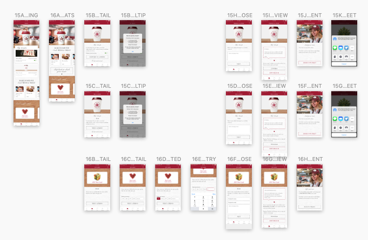 hi-fidelity treat store feature screens laid out in sketch